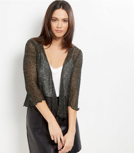 Apricot Black Glitter Shrug | New Look