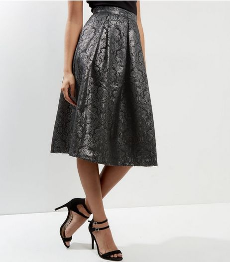Apricot Black Jacquard Metallic Midi Skirt  | New Look