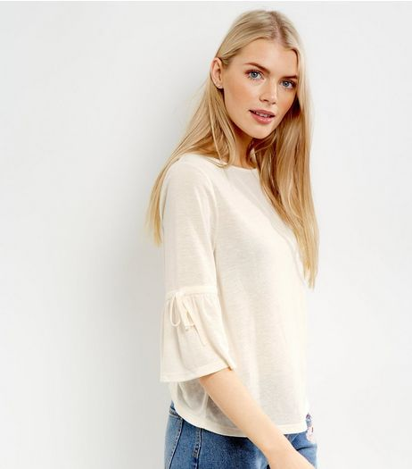 Cream Tie Cuff Bell Sleeve Top | New Look