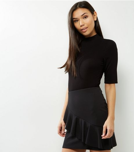 Black Scuba Frill Trim Mini Skirt  | New Look