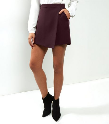Burgundy Wrap Front Skort | New Look