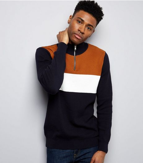 Navy Colour Block Zip Front Jumper | New Look