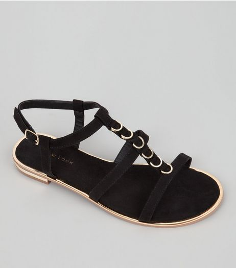 Black Suedette Metal Ring Trim Sandals  | New Look