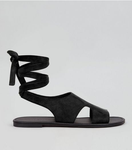 Black Suedette Cut Out Tie Back Sandals  | New Look