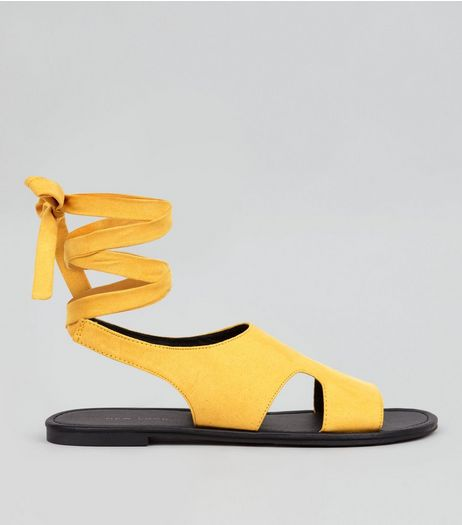 Yellow Suedette Ankle Tie Cut Out Sandals | New Look
