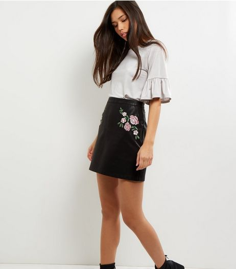 Black Floral Embroidered Leather-Look A-Line Skirt  | New Look