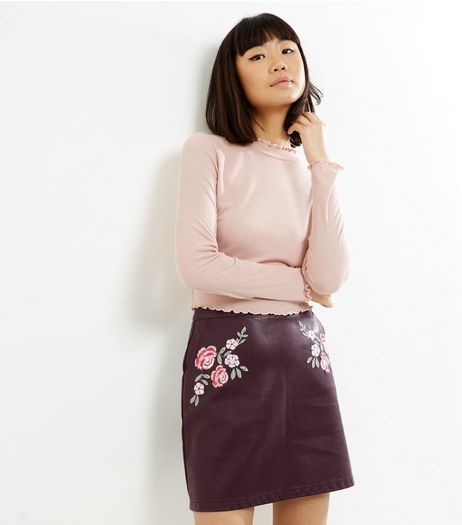Burgundy Floral Embroidered Leather-Look A-Line Skirt  | New Look