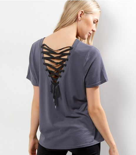 Dark Grey Contrast Lace Up Back T-Shirt | New Look
