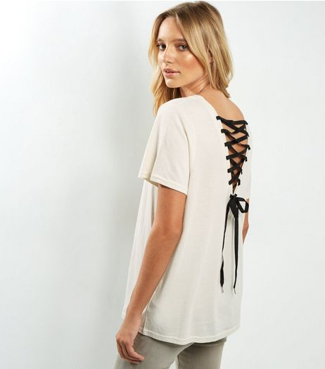 Cream Contrast Lace Up Back T-Shirt | New Look