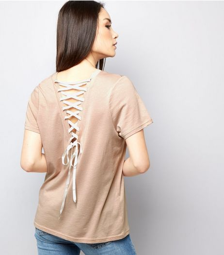 Light Brown Lace Back Short Sleeve T-Shirt  | New Look