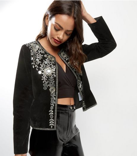 Mela Black Velvet Embroidered Blazer  | New Look