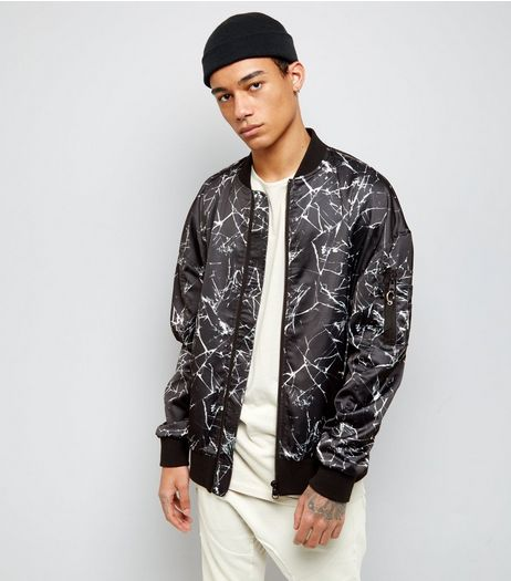 Black Crackle Print Oversized Bomber Jacket | New Look