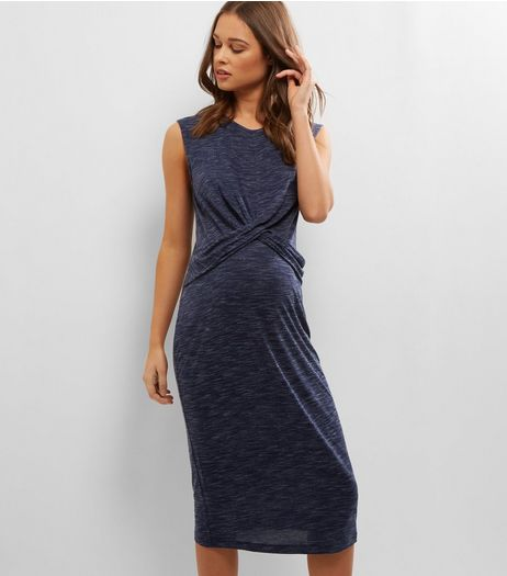 Maternity Navy Cross Front Jersey Midi Dress | New Look