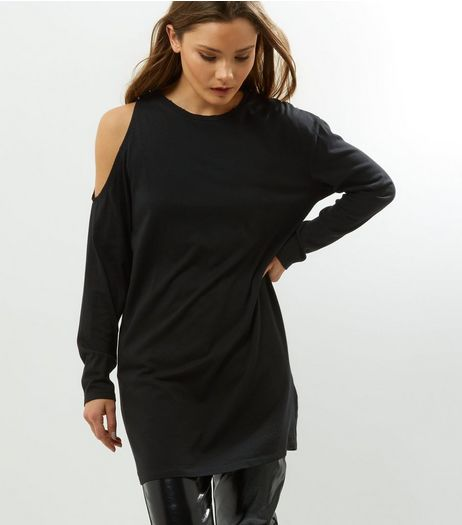 Black Asymmetric Cold Shoulder Tunic | New Look