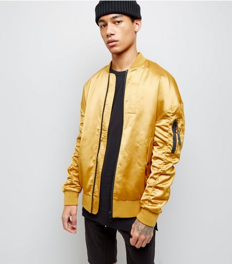 Gold Oversized Bomber Jacket | New Look