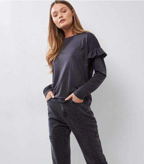 Dark Grey Frill Trim Long Sleeve Top  | New Look