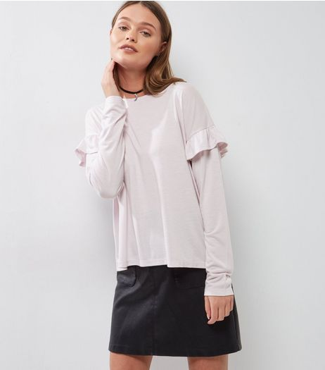 Lilac Frill Trim Long Sleeve Top  | New Look