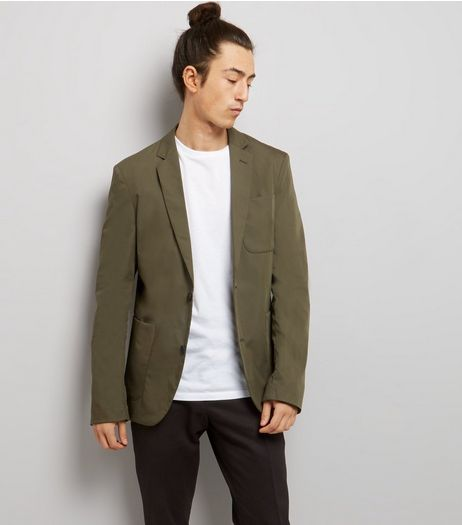 Khaki Cotton Mix Blazer | New Look