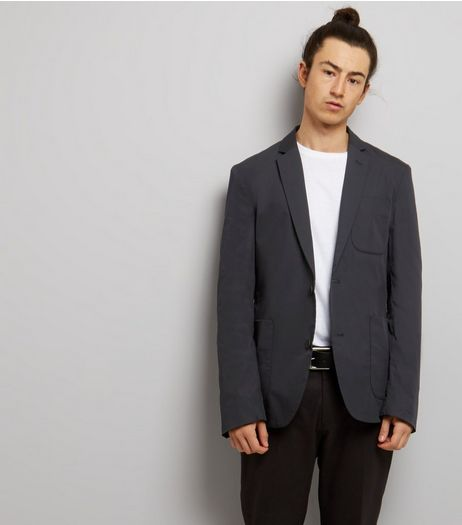 Navy Cotton Mix Blazer | New Look