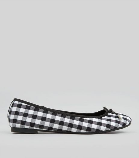 Teens Black Gingham Ballet Pumps | New Look