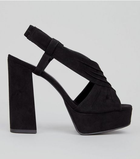 Wide Fit Black Suedette Ruched Cross Strap Platform Heels | New Look