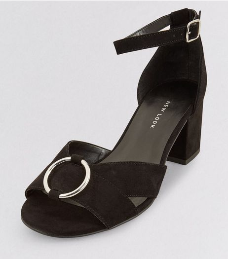 Wide Fit Black Ring Front Block Heels | New Look