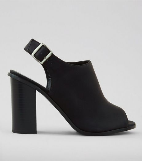 Wide Fit Black Block Heel Sandals | New Look