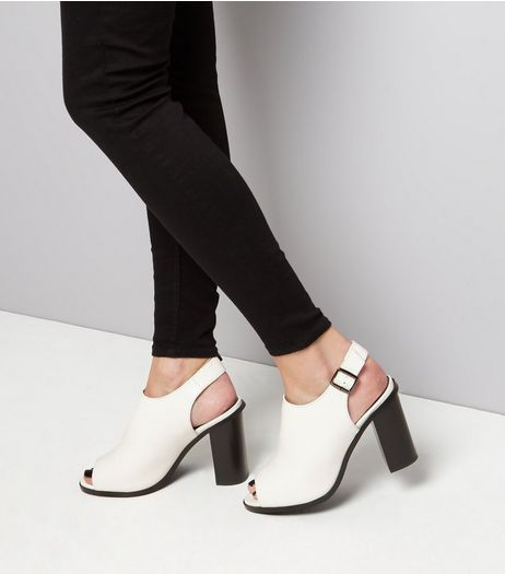 Wide Fit White Contrast Block Heel Sandals | New Look