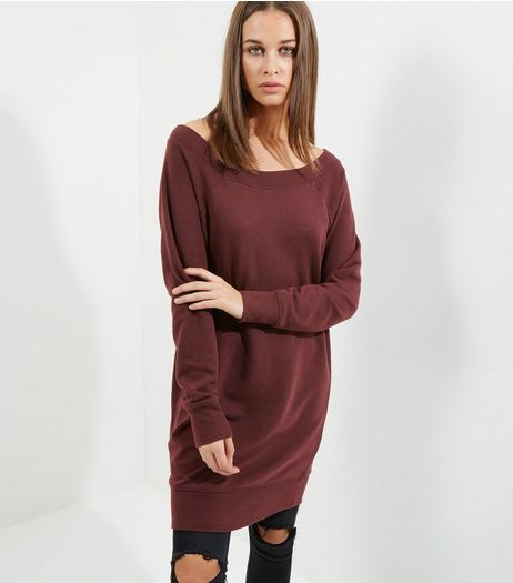 Burgundy Bardot Neck Longline Sweater | New Look