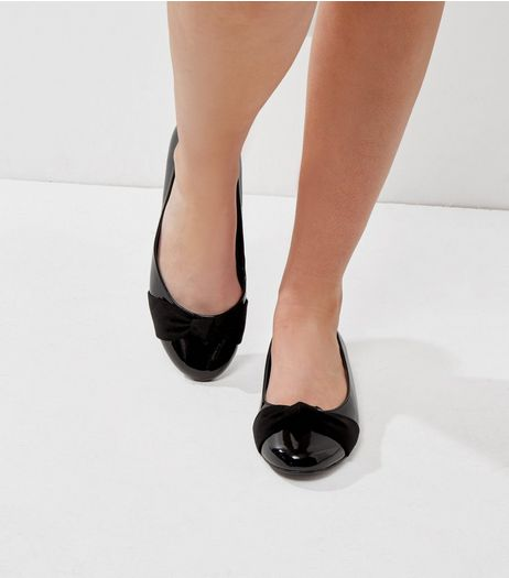 Extra Wide Fit Black Metallic Patent Knot Front Pumps | New Look