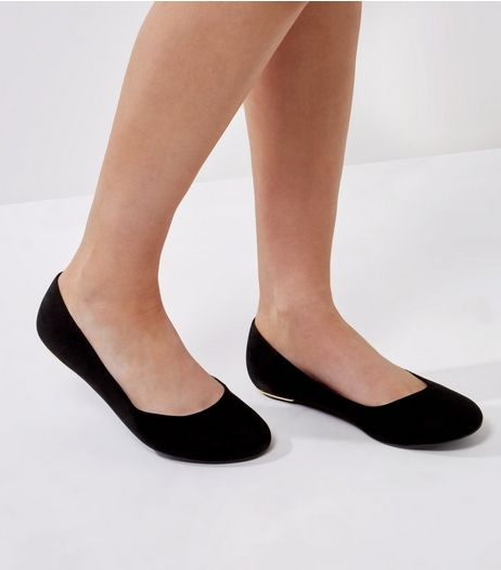 Extra Wide Fit Black Suedette Metal Trim Pumps | New Look