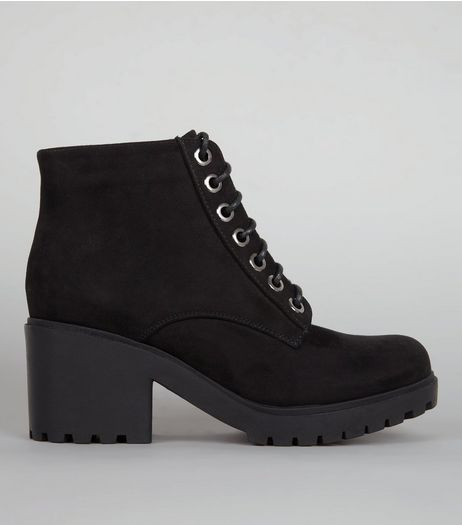 Teens Black Lace Up Chunky Boots | New Look