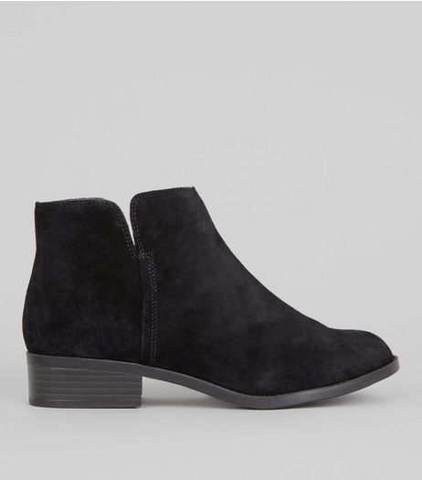 Teens Black Suede Zip Side Ankle Boots | New Look