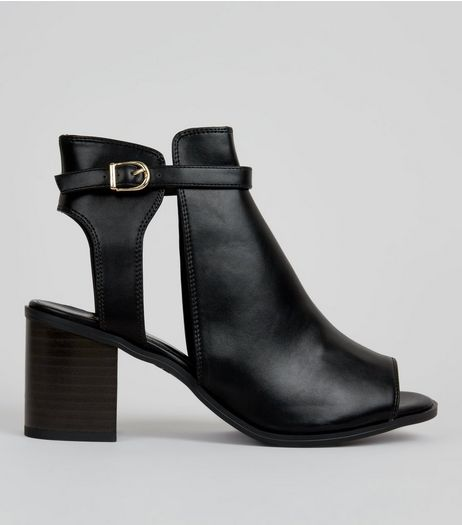 Teens Black Cut Out Peep Toe Heels | New Look