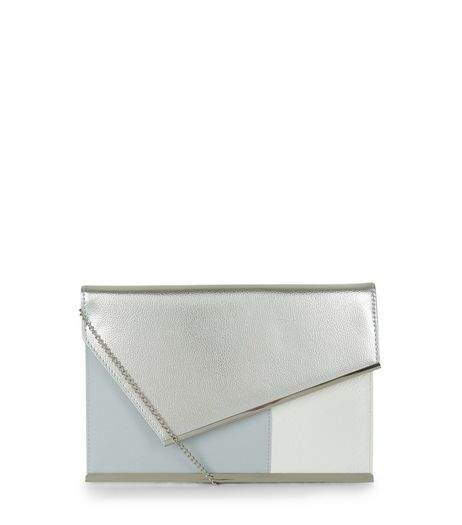 White Colour Block Metallic Panel Clutch | New Look