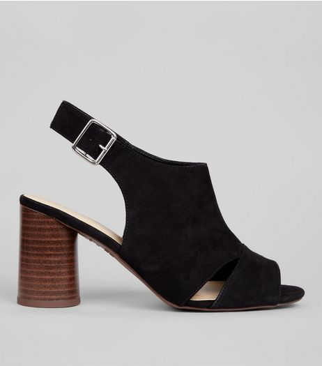 Wide Fit Black Cut Out Side Sling Back Heels | New Look
