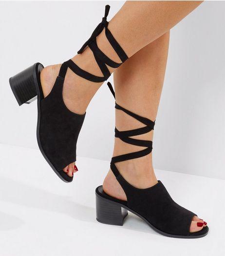 Wide Fit Black Suedette Tie Front Open Toe Sandals  | New Look