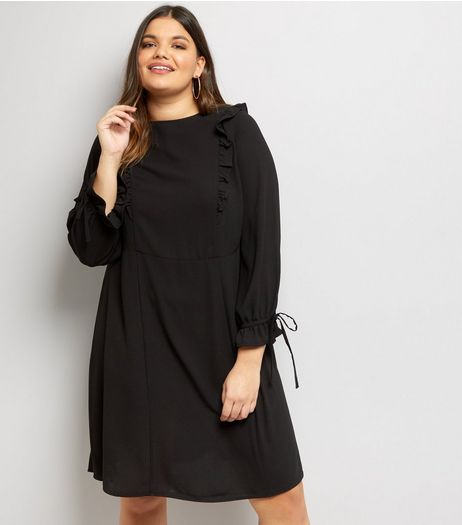 Curves Black Frill Trim Skater Dress  | New Look