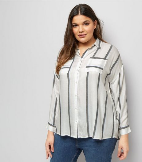 Curves White Stripe Dip Hem Shirt | New Look