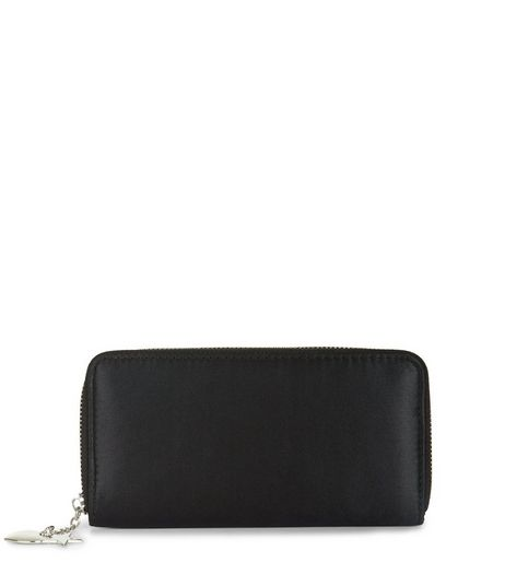 Black Sateen Star Charm Zip Around Purse | New Look