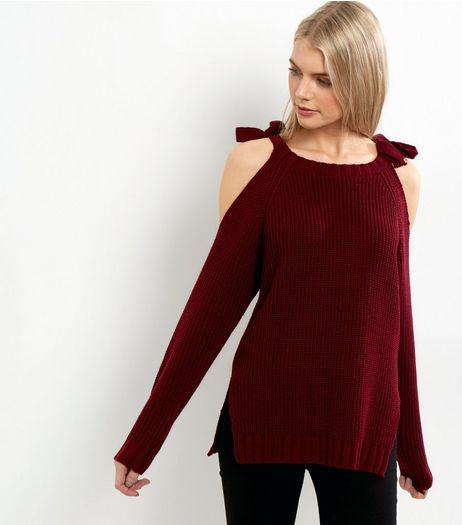 Burgundy Tie Cold Shoulder Jumper | New Look
