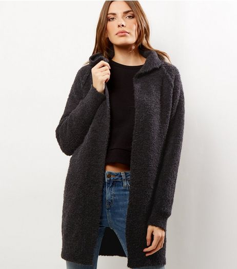 Dark Grey Bouclé Hooded Cardigan | New Look