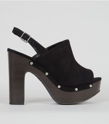 Wide Fit Black Heeled Clogs | New Look