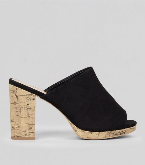 Wide Fit Black Suedette Cork Heeled Mules | New Look