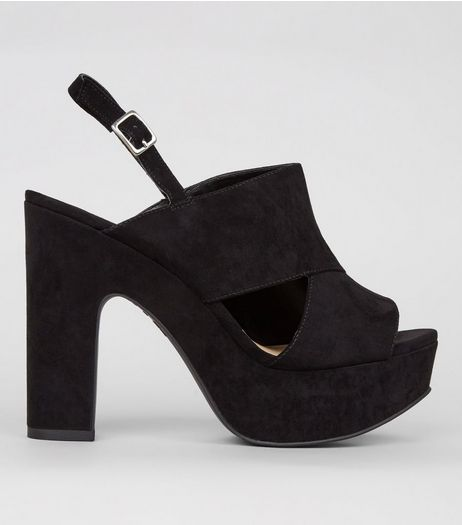 Wide Fit Black Suedette Cut Out Side Platform Heels | New Look