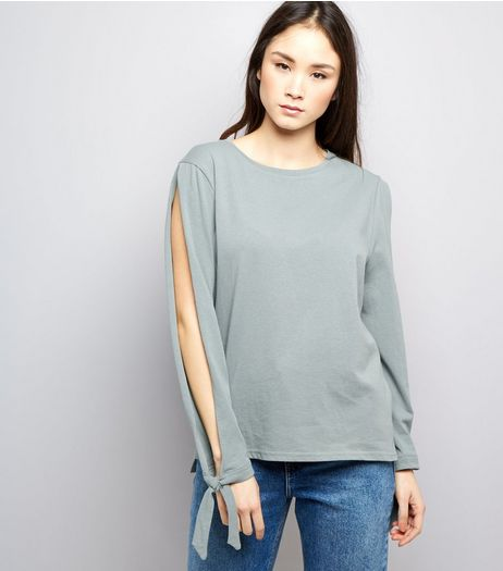 Green Split Tie Sleeve Top  | New Look
