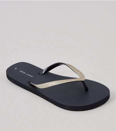 Black Glitter Strap Flip Flops | New Look