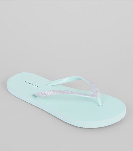 Mint Green Gitter Flip Flops | New Look