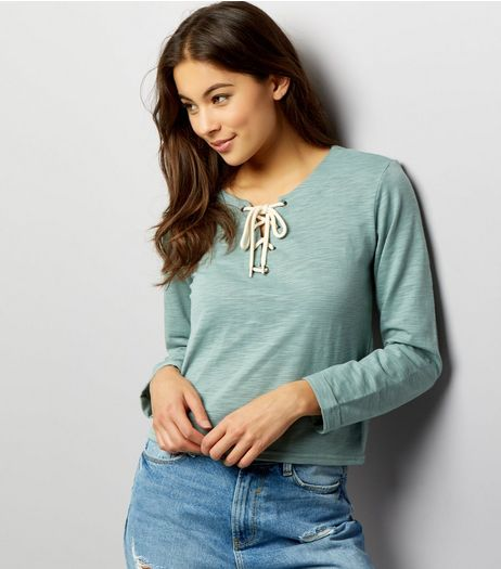 Green Lace Up Boxy Long Sleeve Top  | New Look