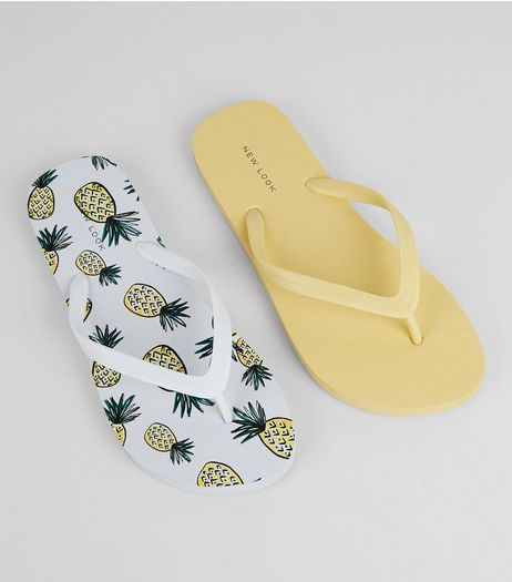 2 Back Yellow Pineapple Print Flip Flops | New Look